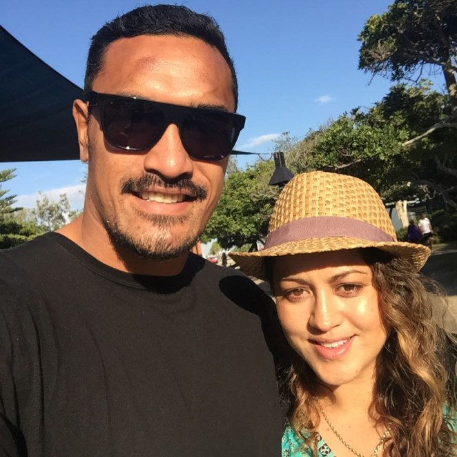 Jerome Kaino pictured with wife Diana Breslin