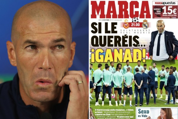 Real Madrid to SACK Zidane if he loses to Galatasaray after poor start to season