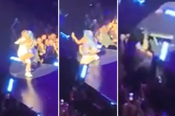 Lady Gaga falls OFF the stage as she straddles fan at Vegas show
