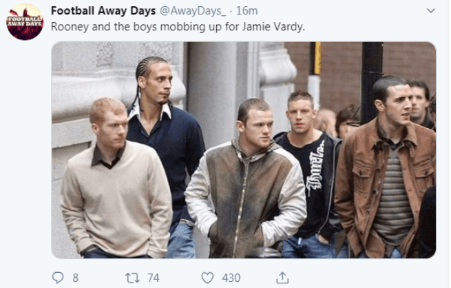 One Tweet showed Wayne Rooney, joking he was ready to confront Vardy