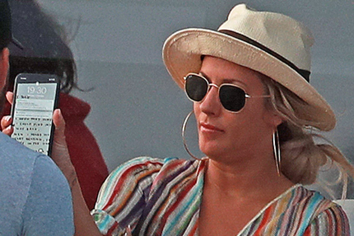 Furious Caroline Flack Waves A Phone In Boyfriend Lewis Burton S Face As They Row On A Yacht In Ibiza