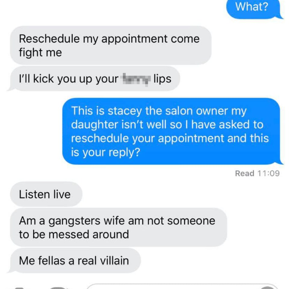 Stacey took over with the messaging and was told the woman was a 'gangster's wife'