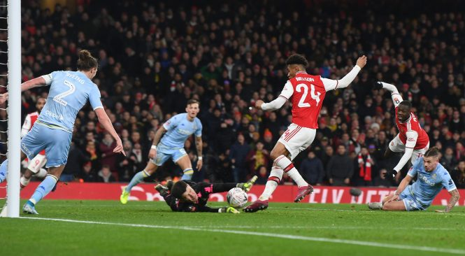 Reiss Nelson, seen scoring against Leeds in the FA Cup, has made faster progress than even big admirer Mikel Arteta imagined
