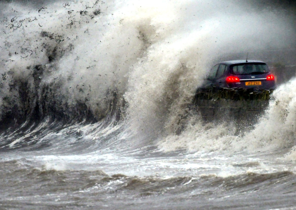 UK weather forecast: waves crash on Strangford Lough in County Down, Northern Ireland