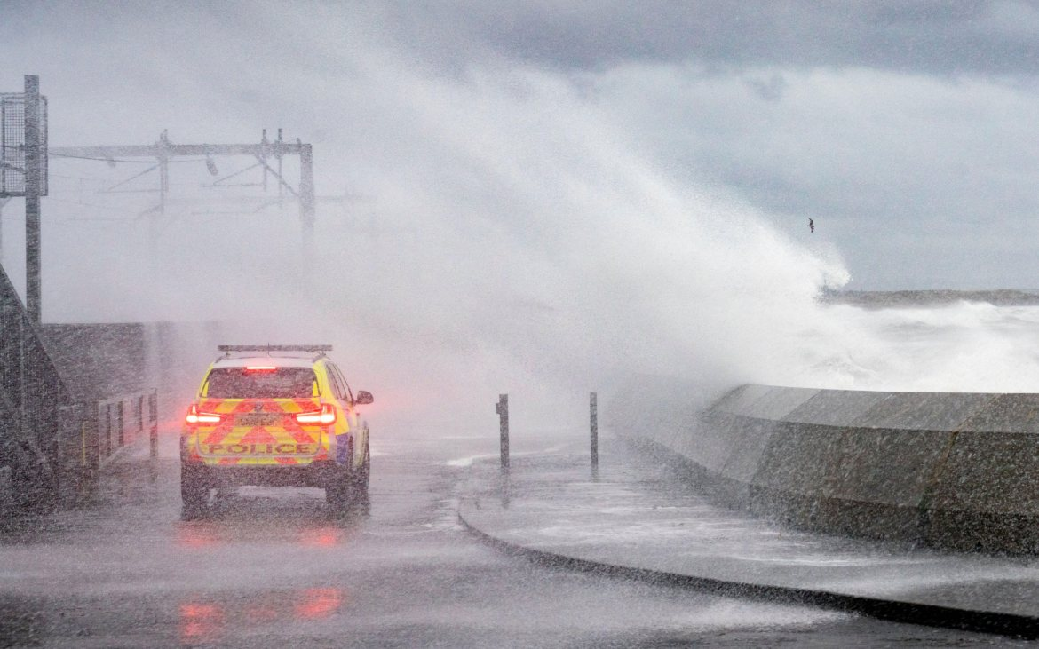 UK forecast: waves hit the coast of Ayrshire in Scotland