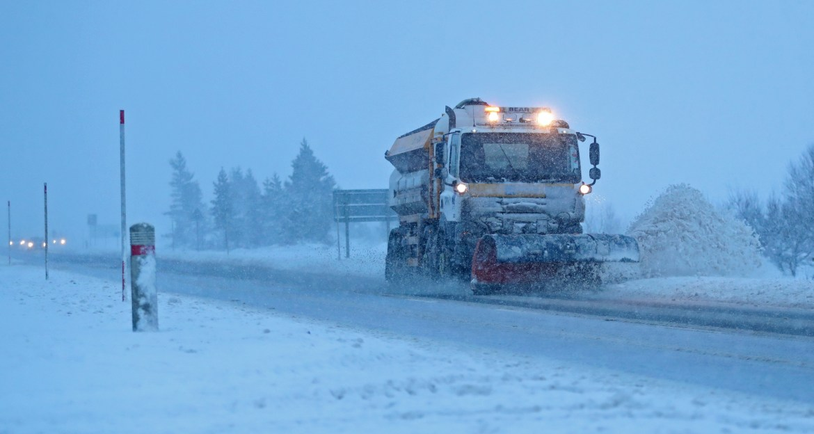 UK forecast: a snowplow clears the A9 road near Dalwhinnie, Scotland