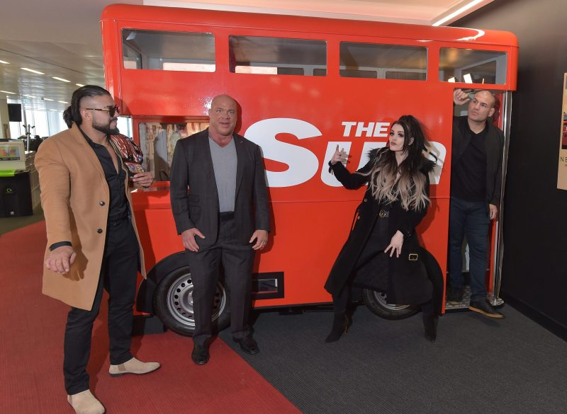 Paige alongside Andrade, Kurt Angle and Cain Velasquez in WWE's SunSport takeover for BT Sport