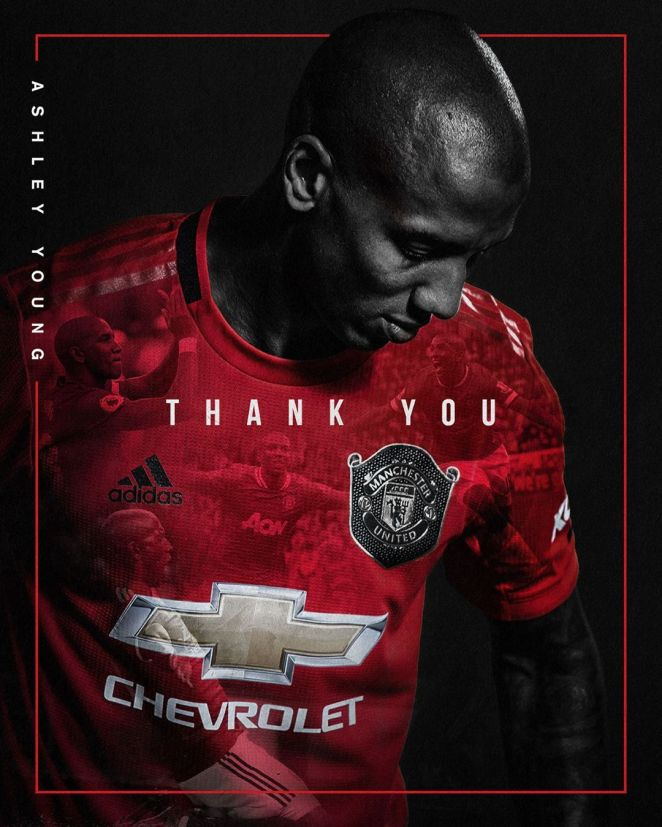 Manchester United posted a thank you to Young after his 261 games for the club