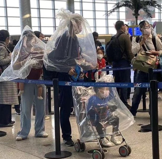 This family wrapped themselves up with plastic sheeting