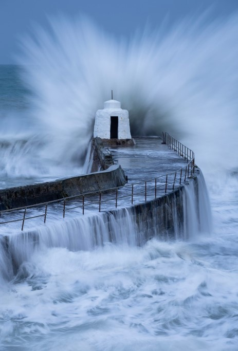 UK weather forecast: Storm Brendan brought winds of 80 miles per hour in parts of the UK (pictured: Porthcawl)