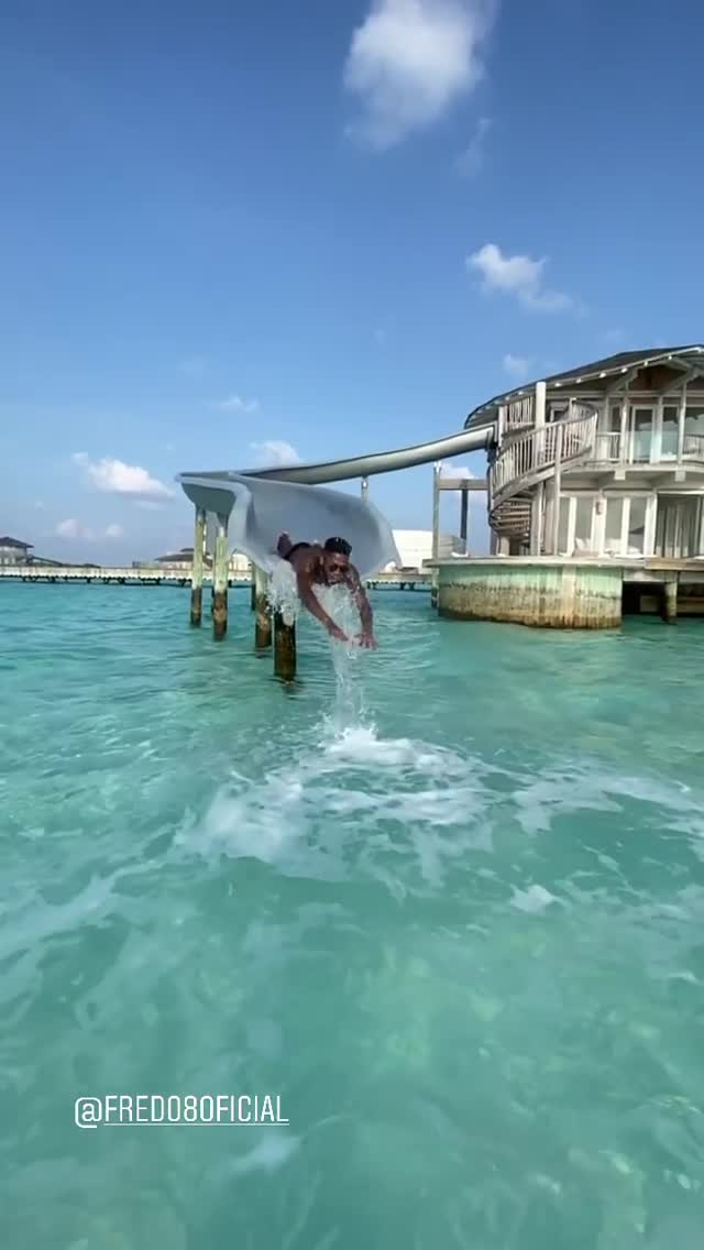 Their luxury villa had a water slide connecting their pad to the sea