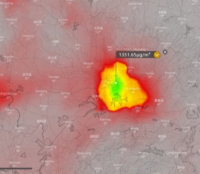This satellite map which was captured at the weekend shows very high levels of sulphur dioxide (SO2) in the city of Wuhan