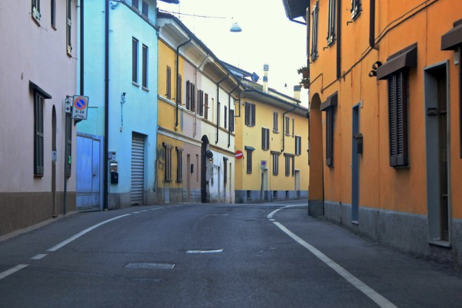 A view of a deserted street in Codogno, one the northern Italian towns placed under lockdown