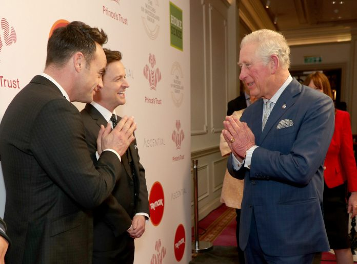 Prince Charles welcomes Ant and Dec to the London Palladium on March 11