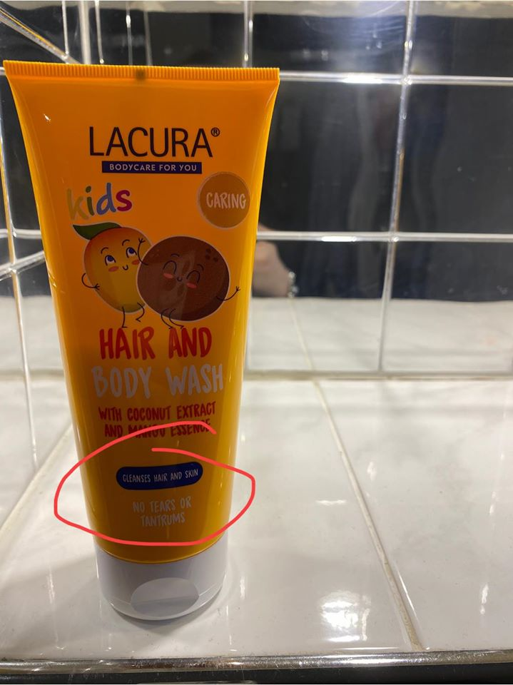 The savvy mum noticed the 'no tears or tantrums' promise on the Aldi bottle