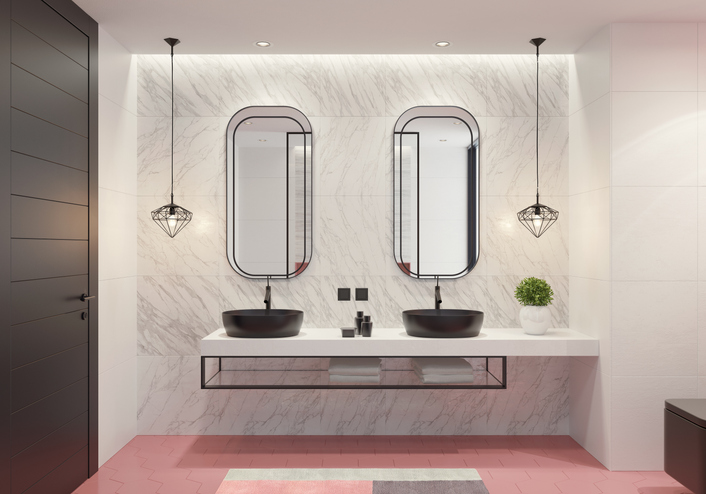 The black bathroom feature on the white bathroom walls could also decrease the value of your home