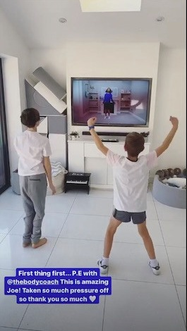 Stacey Solomon's sons Leighton and Zach begin their day with Joe Wicks' virtual P.E. lesson
