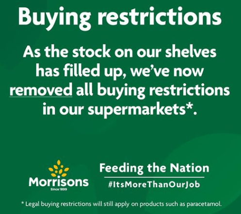 Supermarket announced end of restrictions on Facebook page