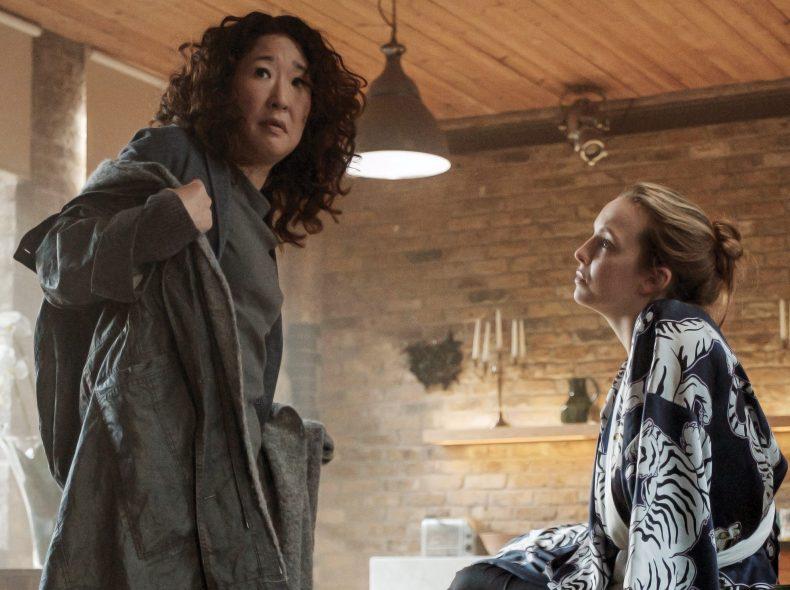 Sandra Oh as Eve Polastri, Jodie Comer as Villanelle