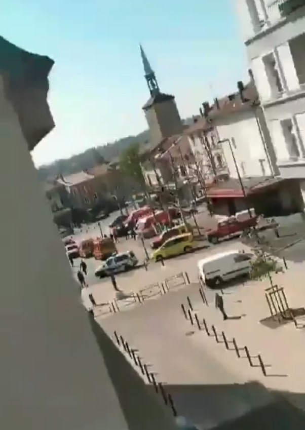 Police remain at the scene after a knife was unleashed this morning in south-eastern France