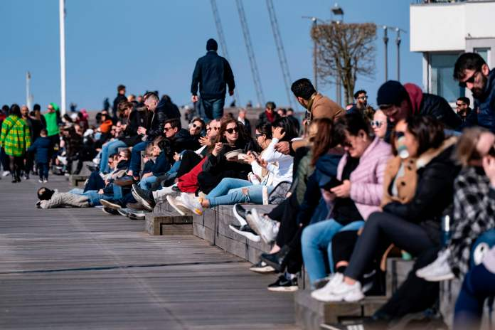 Crowds of Swedes enjoy the sun in Malmö yesterday