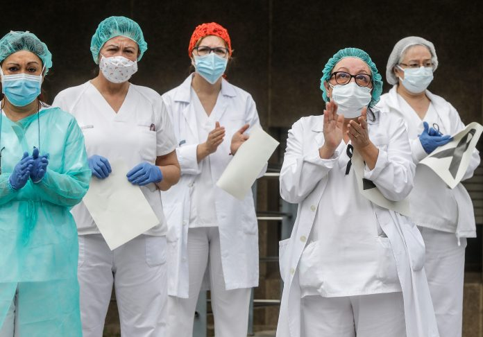 In a touching moment, health workers were photographed observing a minute of silence in Valence in memory of the nurses who died from coronavirus