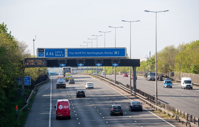 Traffic on the M1 motorway in Leicester yesterday