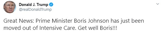 Donald Trump went on Twitter to send his best wishes to the recovering Prime Minister