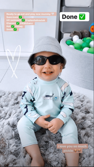 Stacey revealed how she gets Rex to wear his sun hat and glasses for the garden