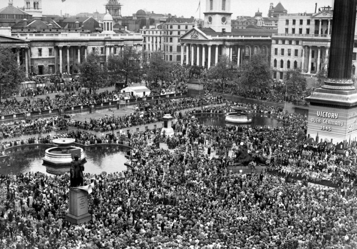 Huge crowds gathered in Trafalgar Square, London, to celebrate Victory Day in 1945