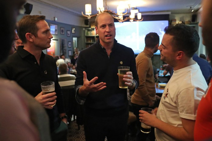 Prince William, pictured with Frank Lampard and a fan, talked about his football anxiety, Prince William and our sanity