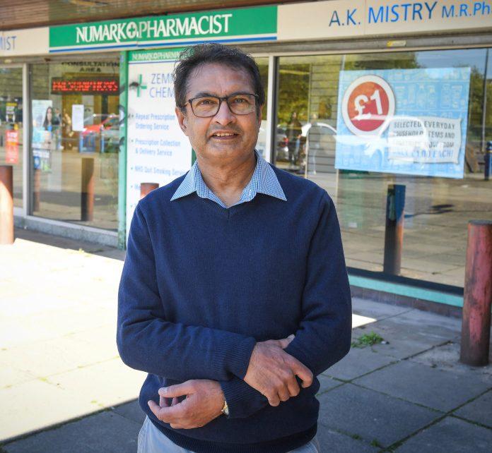 Pharmacist Amrat Mistry at the Mocha shopping center