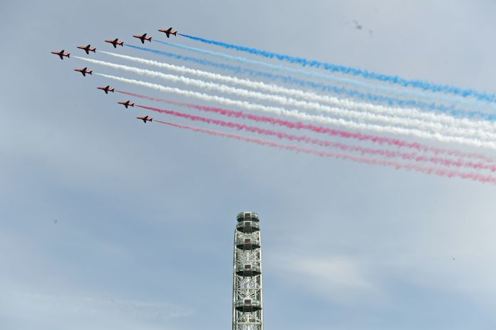 Red arrows hovering over the capital as RAF typhoons flew over the rest of the UK