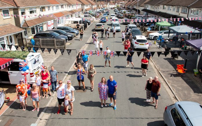 Residents of Novers Park Road in Knowle, Bristol celebrate the occasion with a socially distant street party
