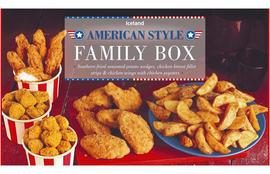Iceland's American-style family box is packed with chicken wings, chicken strips and potato wedges