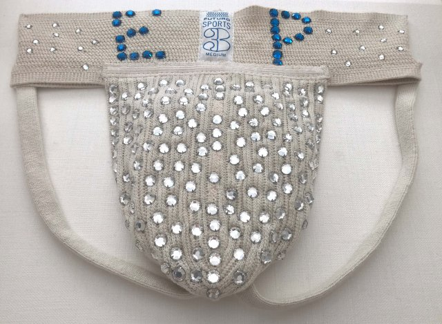 A rhinestone-studded jockstrap that belonged to Elvis Presley is for sale for £29,950