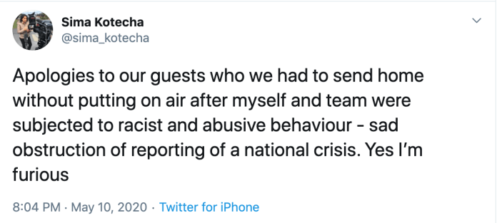 Ms. Kotecha tweeted apology after being forced to cancel live broadcast on PM's speech