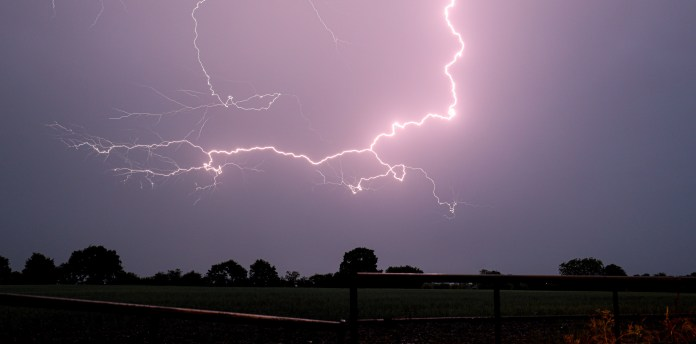 A huge lightning storm crosses Walsall in the West Midlands