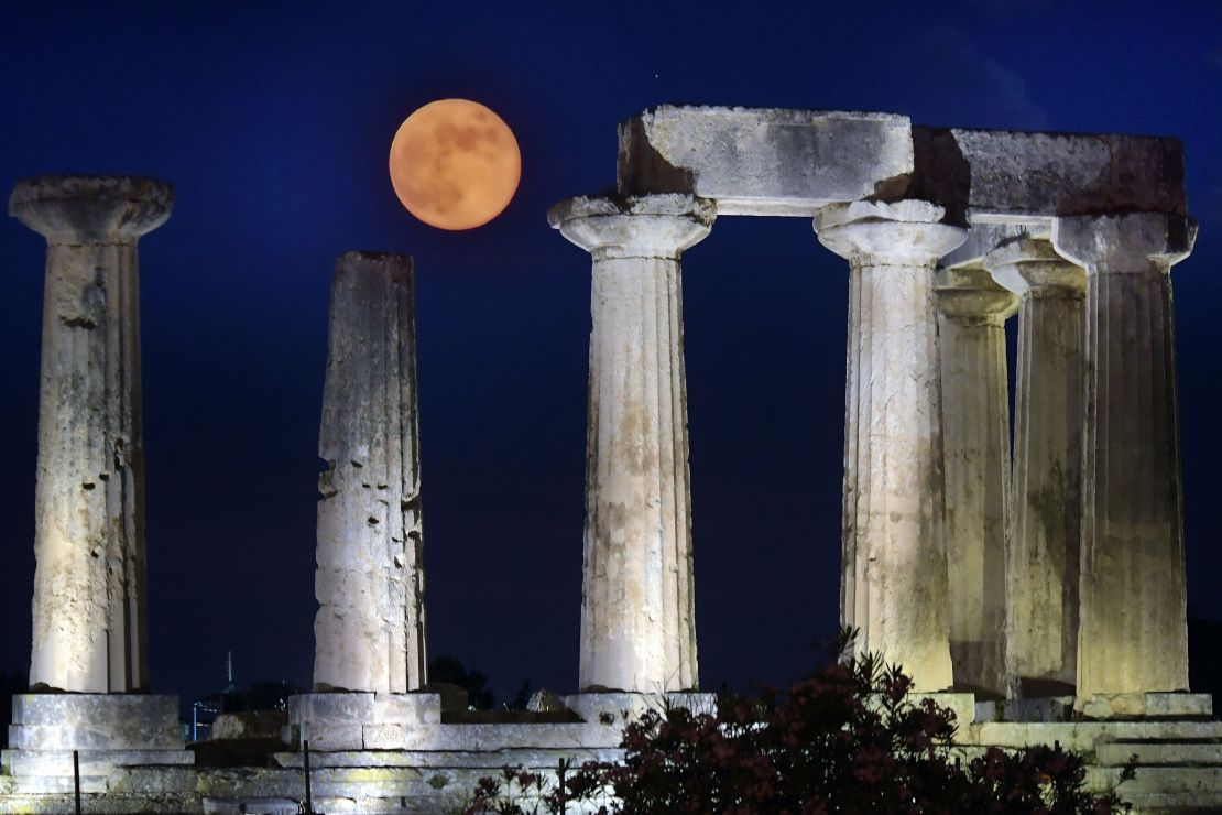 Last year's Strawberry Moon above Apollo Temple in ancient Corinth