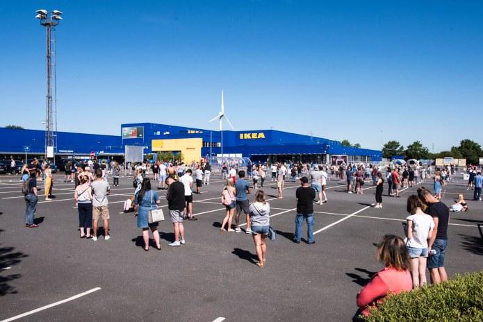 Ikea shoppers seen queuing outside his Warrington store