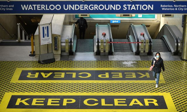 Social distancing measures have been put in place in British stations