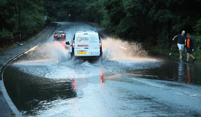 Floods affected parts of Cheshire yesterday
