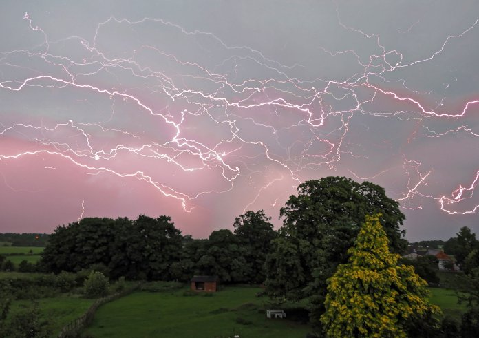 Spectacular lightning show on Cotesbach in Leicestershire on Wednesday
