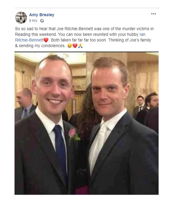 Joe tragically died in the terrorist attack after the loss of his partner Ian cancer