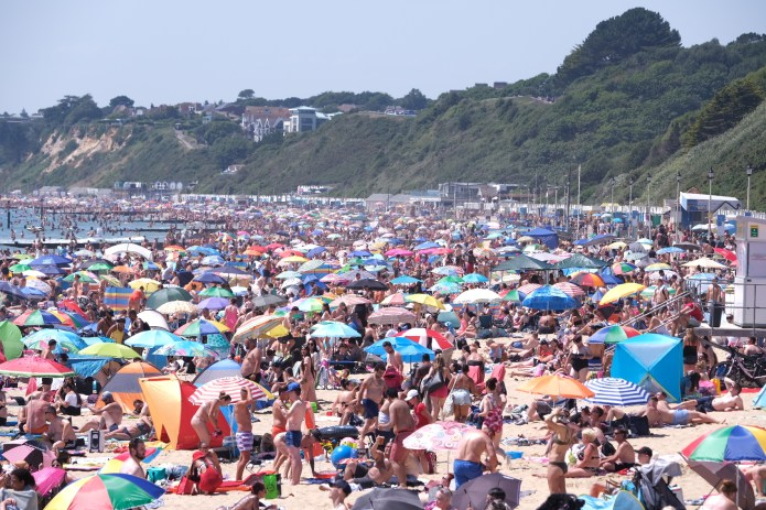A crowded Bournemouth beach on the hottest day of the year so far