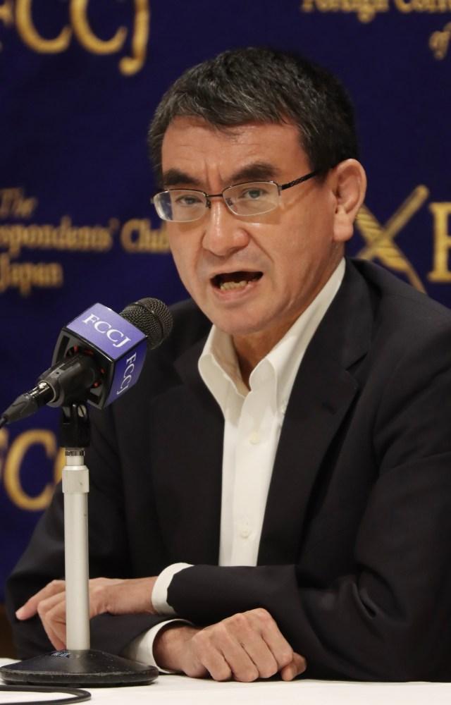 Japanese Defense Minister Taro Kono speaking to reporters yesterday