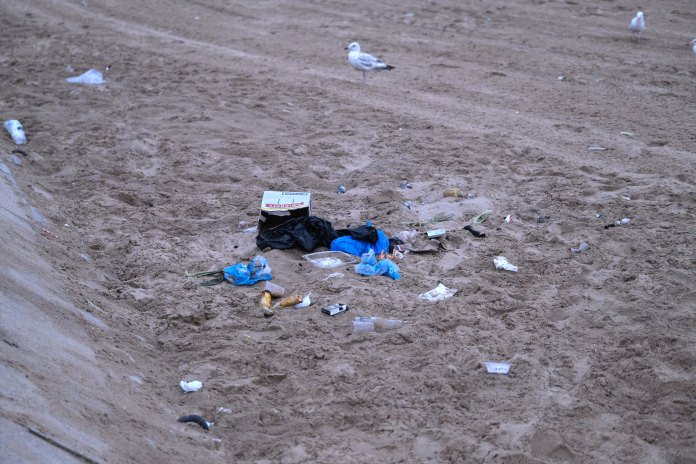Seagulls surrounded the litter on Bournemouth Beach this morning