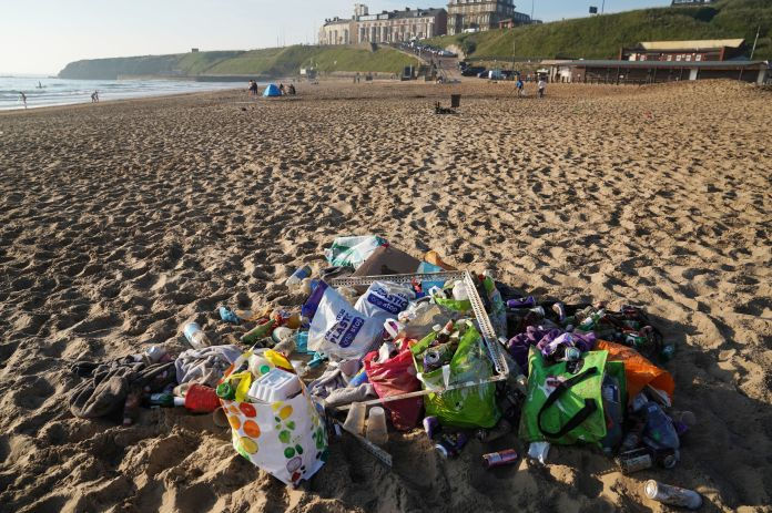 Lots of litter was picked up on Tynemouth Beach this morning