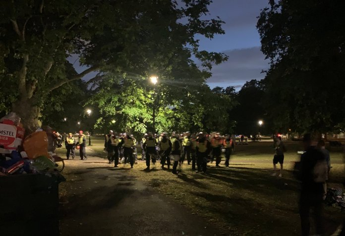 Police disperse crowds at Clapham Common