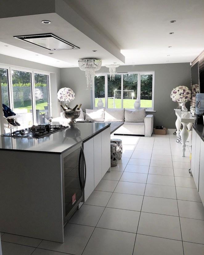 Her kitchen follows a white colour scheme